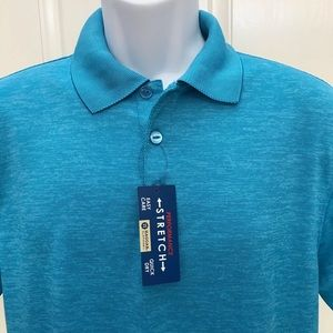 NEW wTag-HAGGAR Blue Danube Stretch Polo Shirt S